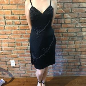 Vintage Sue Wong black silk dress with beading